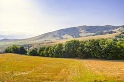 La terre agricole a localisé la haute dans les montagnes en Arménie Photo stock