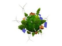 La terre avec de l'énergie renouvelable Photo stock