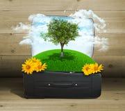 La terre avec des bâtiments et les arbres dans le voyage mettent en sac Photos libres de droits