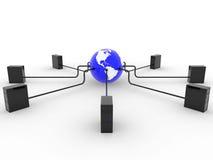 La terre avec des serveurs Image stock