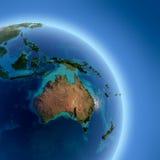 La terre avec en haut relief, illuminé illustration stock