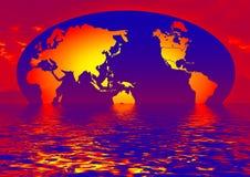 la terre avec la réflexion de l'eau Image stock
