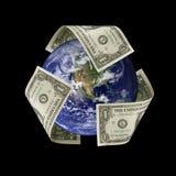 La terre avec le dollar réutilisent le symbole image stock