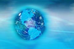 La terre avec le réseau de compagnie aérienne Photo stock
