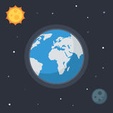 La terre avec le soleil et la lune Photographie stock