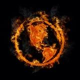 La terre avec les flammes réalistes Photos libres de droits
