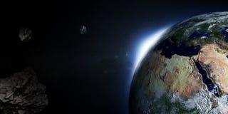La terre avec Soleil Levant et asteroïdes Photographie stock libre de droits