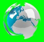 La terre blanche et bleue du rendu 3D Images libres de droits