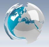 La terre blanche et bleue du rendu 3D Photographie stock libre de droits