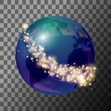 La terre bleue de globe avec des étoiles illustration stock