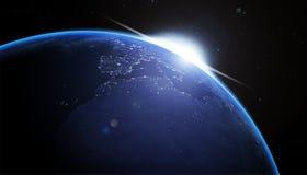 la terre bleue de nighth Images libres de droits