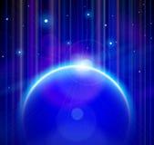 La terre bleue de planète avec Soleil Levant, étoiles Photo libre de droits