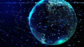 La terre bleue de planète tournant dans le réseau futuriste global de cyber illustration stock