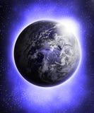 La terre bleue rougeoyante Photo stock