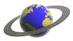 La terre cerclée par la route Images libres de droits