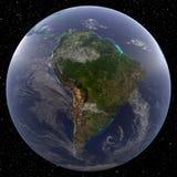 La terre concentrée sur l'Amérique du Sud a regardé de l'espace Images stock