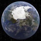 La terre concentrée sur le Pôle Nord vu de l'espace Image libre de droits