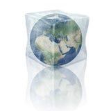 La terre congelée de planète. L'Europe, l'Afrique et l'Asie. Images libres de droits