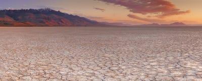 La terre criquée dans le désert à distance d'Alvord, Orégon, Etats-Unis Photo stock