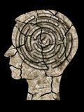 La terre criquée de silhouette de tête humaine Photo stock