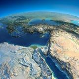 La terre détaillée. L'Afrique et Moyen-Orient Image stock
