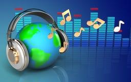 la terre 3d dans le spectre d'écouteurs Photo libre de droits