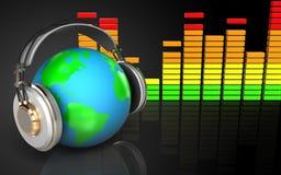 la terre 3d dans le spectre d'audio d'écouteurs Images stock