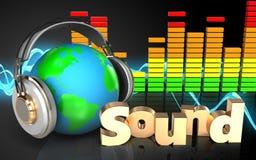 la terre 3d dans le spectre d'audio d'écouteurs Image stock