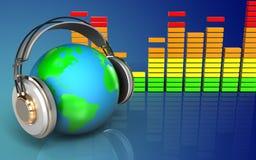 la terre 3d dans le spectre d'audio d'écouteurs Photo stock