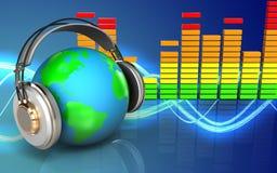 la terre 3d dans le spectre d'audio d'écouteurs Photo libre de droits