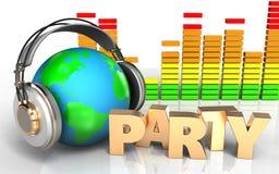 la terre 3d dans le spectre d'audio d'écouteurs Photos stock