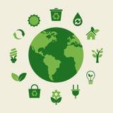 La terre d'Eco et icônes vertes Images stock