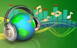la terre 3d en terre d'écouteurs dans des écouteurs illustration de vecteur