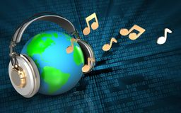 la terre 3d en terre d'écouteurs dans des écouteurs illustration libre de droits