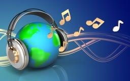 la terre 3d en blanc d'écouteurs illustration stock