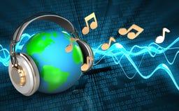 la terre 3d en blanc d'écouteurs Image libre de droits