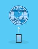 La terre d'Internet de téléphone Photo libre de droits