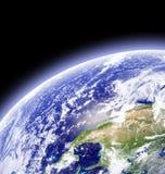 La terre dans l'espace extra-atmosphérique Images stock