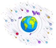 La terre dans l'espace, notre planète en cosmos énorme entouré par artifici Illustration Stock