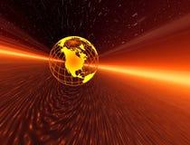 La terre dans la galaxie ensoleillée Photos stock