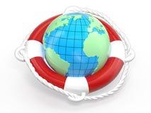 La terre de bouée de sauvetage et de globe Photographie stock libre de droits