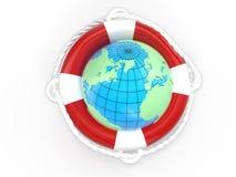 La terre de bouée de sauvetage et de globe Photographie stock