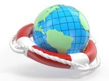 La terre de bouée de sauvetage et de globe Photos libres de droits