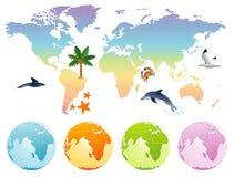 La terre de carte d'arc-en-ciel illustration stock