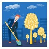 La terre de creusement d'homme d'affaires pour planter l'arbre d'argent Financier investissez Image libre de droits