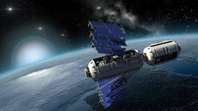 La terre de examen de satellite, de laboratoire spatial ou de vaisseau spatial Photo libre de droits