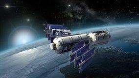La terre de examen de satellite, de laboratoire spatial ou de vaisseau spatial Images libres de droits