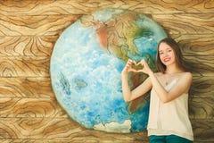 La terre de fille et de planète Photos libres de droits