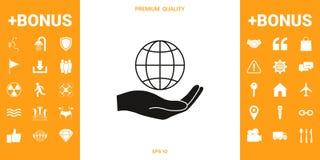 La terre de fixation de main Protégez l'icône illustration stock