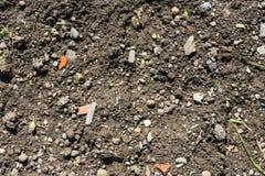 La terre de jardin avec de petits morceaux de tonne Photo libre de droits